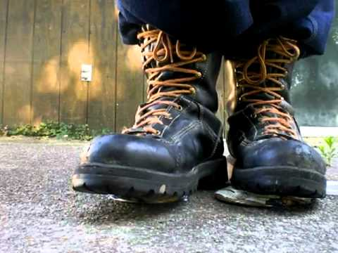 Danner Rainforest boot crunch on nut cans - YouTube