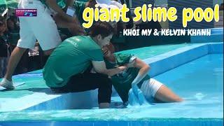 Cận Cảnh Khởi My Và Kelvin Khánh Khiến Fan Mất M.á.u | Đi trên mặt nước slime khổng lồ