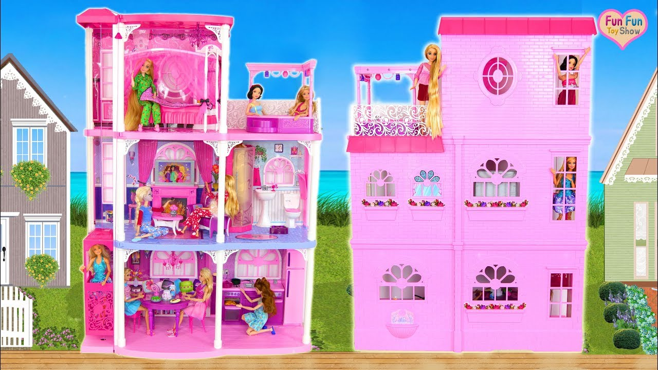 Barbie 3 Story Dream Town House Unboxing Rumah Boneka Barbie Puppenhaus