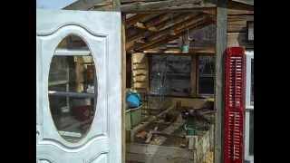 Green Greenhouse update, Inside with a new rustic shingled lumber overlap look
