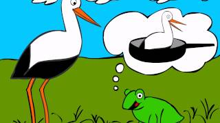 German Cartoons: Storch trifft Breitmaulfrosch (1) - Learn German easily
