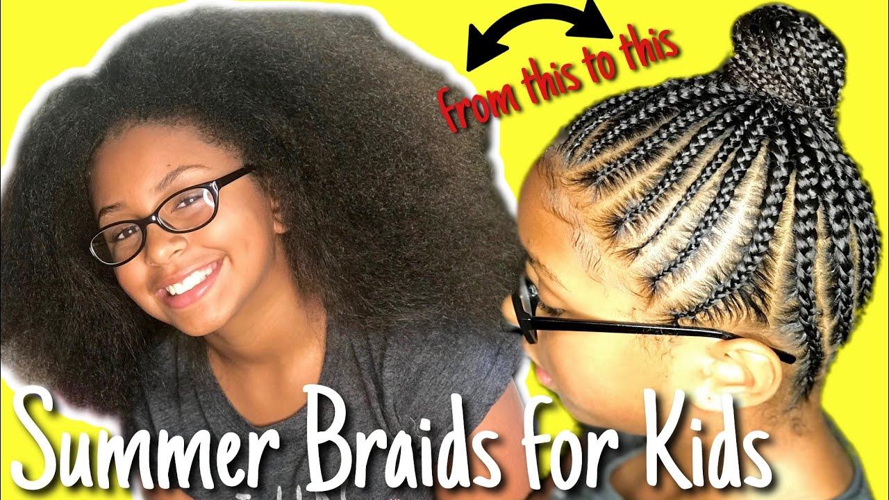 Kids Braided Hairstyles Tutorial Braided Ponytail No Weave Youtube