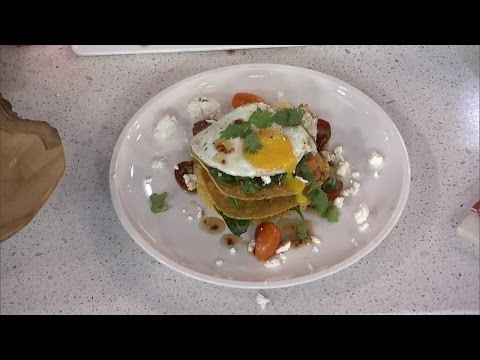 Egg yolk trend—A runny egg tostada tower with spicy maple syrup