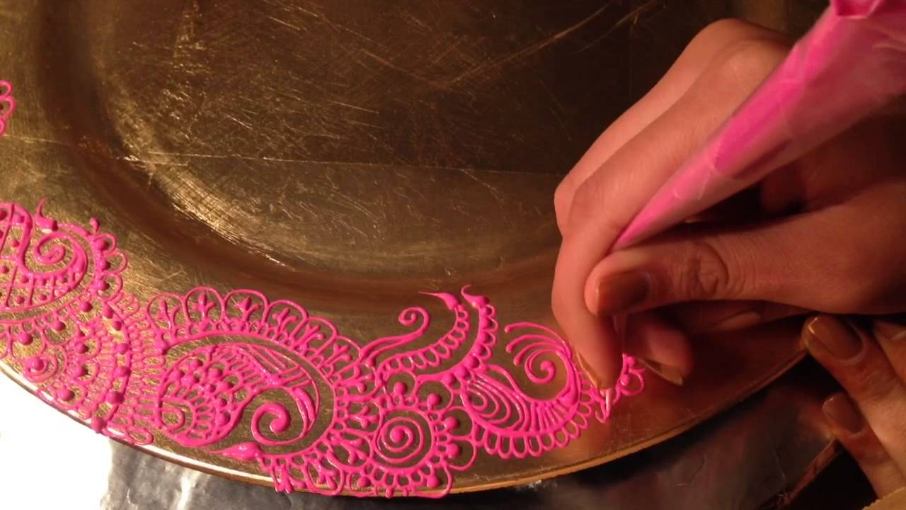 Diy Mehndi Plates : Mehndi henna design on charger toralsuthar youtube