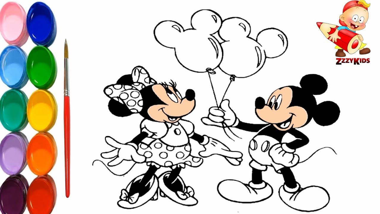 Mickey Mouse Minnie Mouse Colouring And Drawing For Kids Learn
