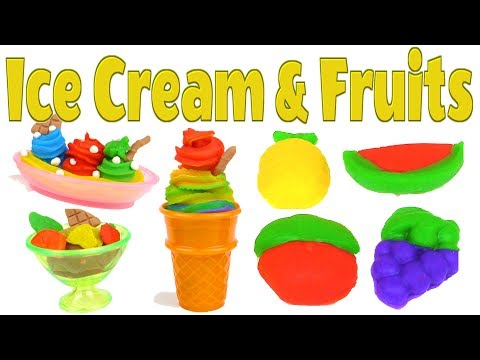 How to make Play-Doh Ice Cream, Fruits and Veggie 2 in 1
