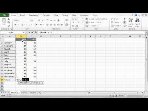 Excel Tutorial 1 of 25 - How to Add in Excel - SUM Formula