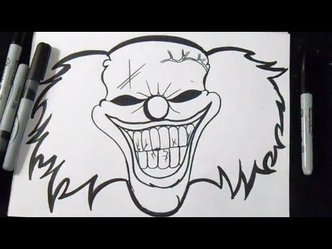 Come disegnare un clown graffiti youtube for Teschi da disegnare