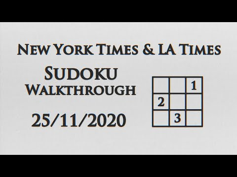 New York Times, LA Times Sudokus and Crosswords - 25/11/2020