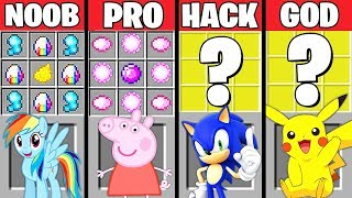Minecraft Battle: CARTOON CRAFTING CHALLENGE - NOOB vs PRO vs HACKER vs GOD ~ Minecraft Animation