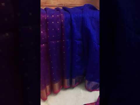 Deep Royal Blue Magenta Color Motka Muslin Sitara Saree