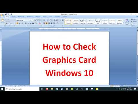 How to check graphics card Windows 10