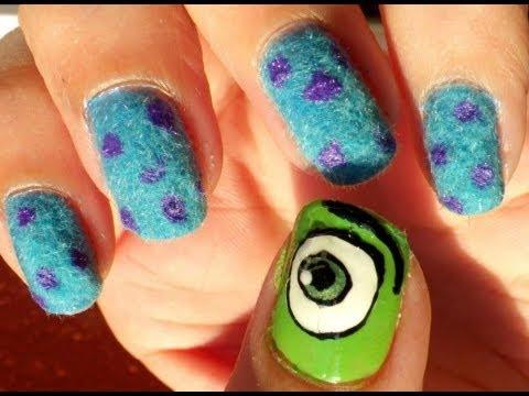 U as monstruos s a pelusa monsters inc nails flock - Decoraciones para las unas ...