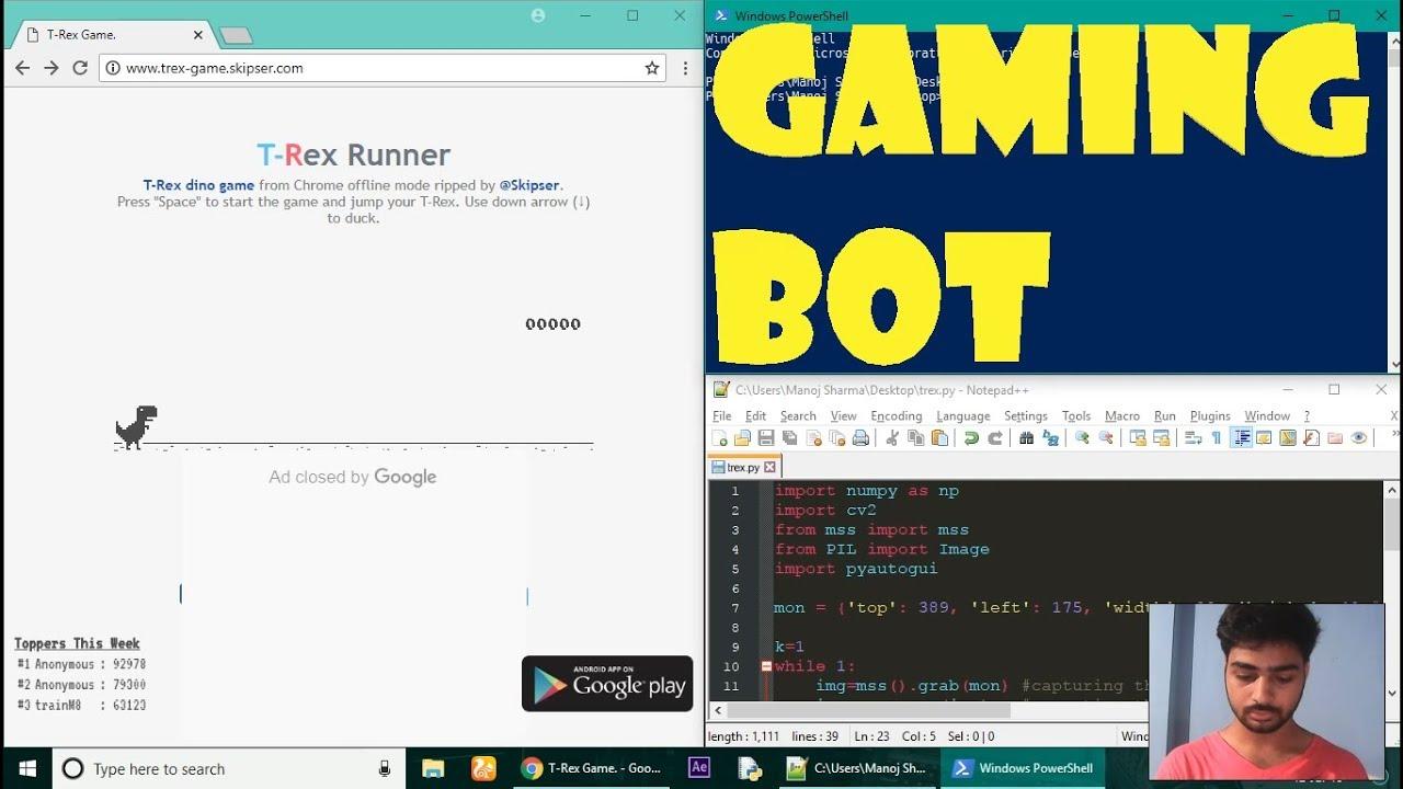 How to make gaming bot using python  Google Dinosaur game  