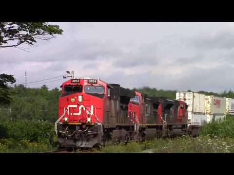 Thumbnail: Long CN Stack Train 120 w/DPU at Windsor Junction, NS (Aug 16, 2017)