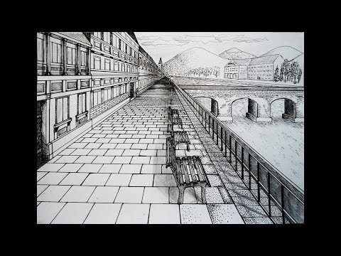 Draw - city center with bridge - one point perspective
