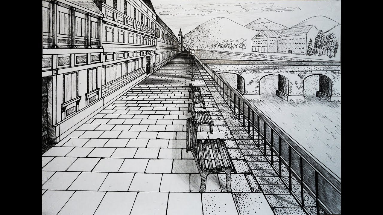 Draw City Center With Bridge One Point Perspective Youtube
