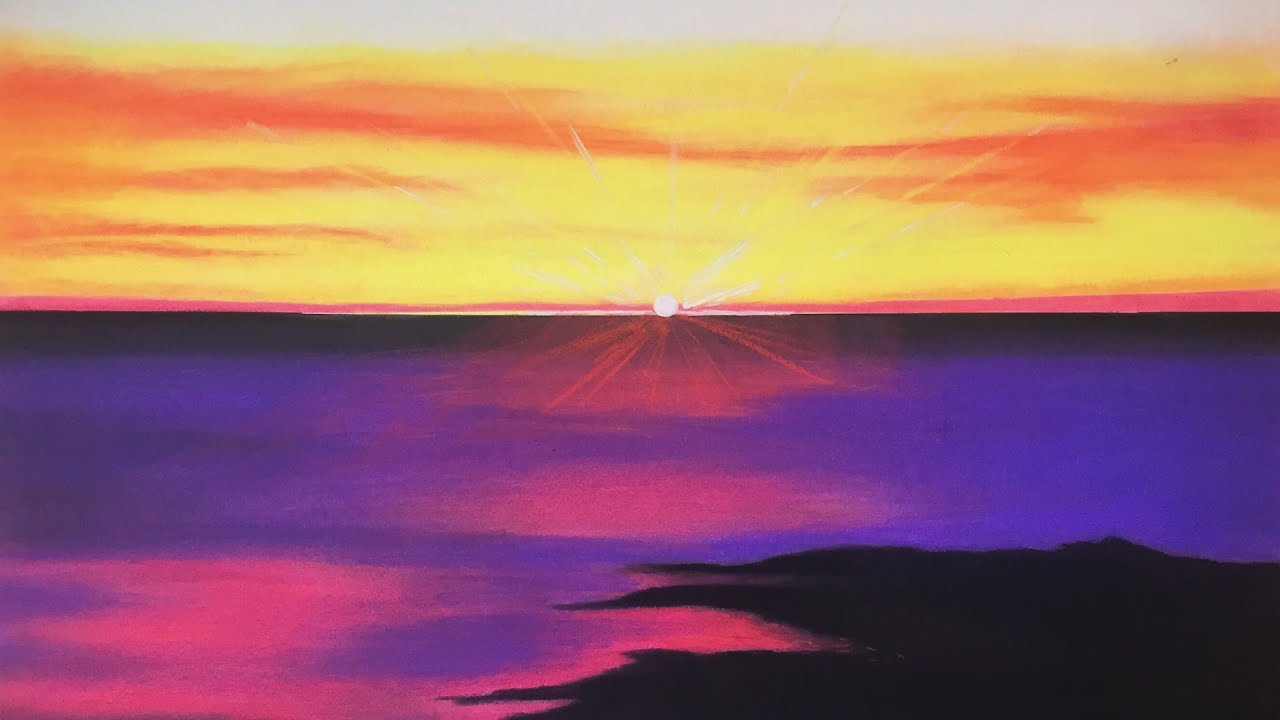 Draw a Dramatic Sunset With Pastels |Pastel Drawings Of Sunsets