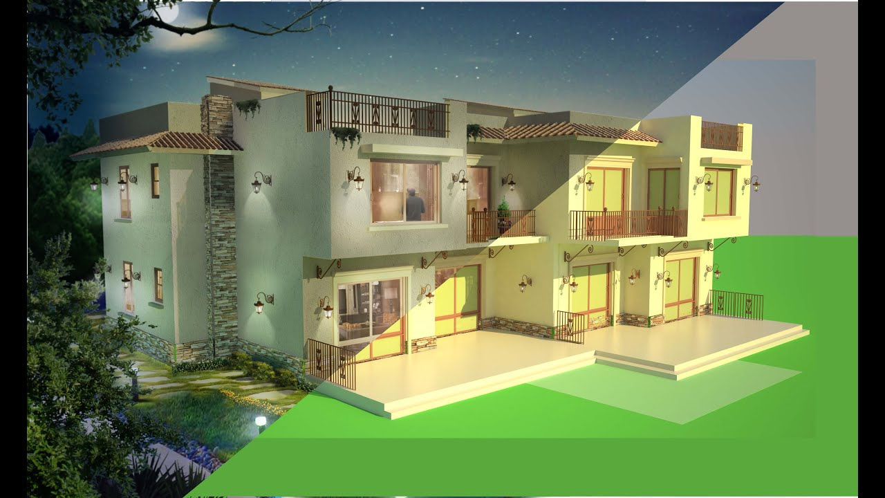 Compositing a 3d architectural rendering using photoshop for Architecture 3ds max