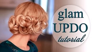 Curly updo hairstyle for wedding/party/prom. Faux bob for long hair tutorial