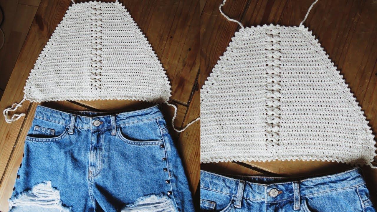 Crochet halter top tutorial - YouTube