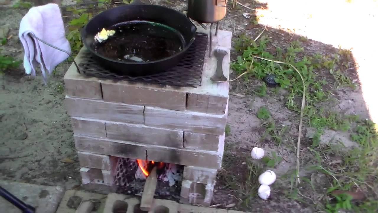 Diy brick rocket stove doovi for How to make a rocket stove with bricks