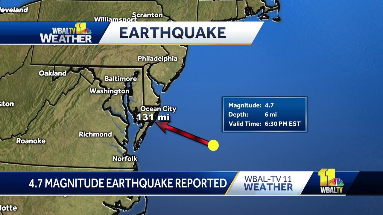 Magnitude 4.7 earthquake reported off the coast of Ocean City