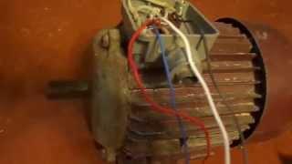 Как подключить двигатель на 380в к сети 220в. Схема. Очень просто.(Подключение трех фазного двигателя на 380в, к сети 220в. Схема подключения., 2015-01-05T08:14:02.000Z)
