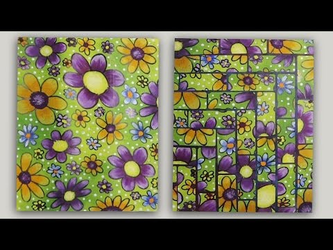 Painted Flowers on Adhesive Label Sheet for Mixed Media Projects #CACFlowerArt