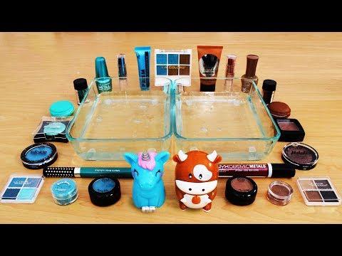 Mixing Makeup Eyeshadow Into Slime ! Teal vs Brown Special Series Part 25 Satisfying Slime Video