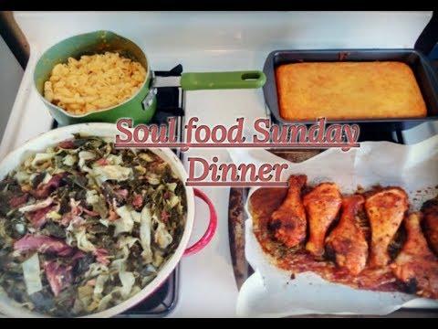 Soul Food Sunday Dinner (Collard Greens-n-Cabbage, Mac-n-Cheese,Corn bread, & Baked Chicken) K.K.