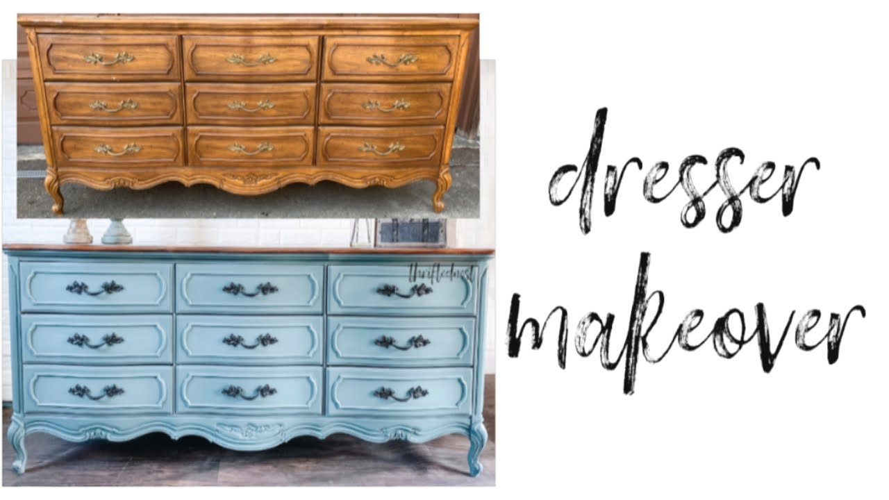 French Provincial Blue Furniture Makeover   HOW TO BLEND CHALK PAINT