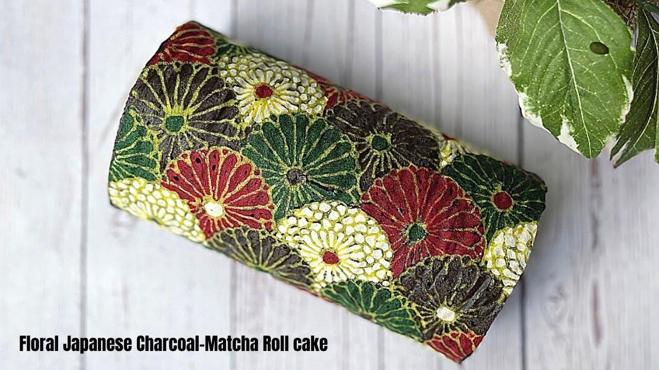 Charcoal Matcha Roll cake -Floral Japanese เค้กโรลชาโคลมัชชะ ลายดอกไม้ญี่ปุ่น