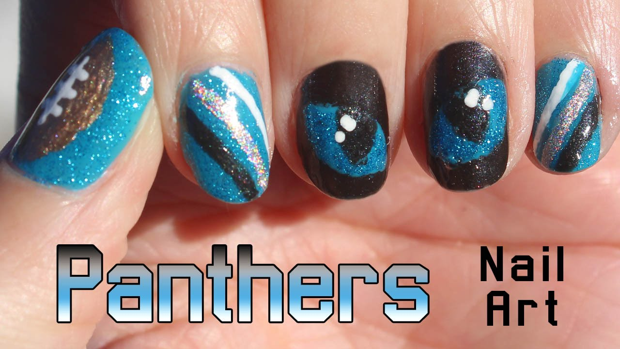 Carolina Panthers Nail Art Tutorial 🏈 - Carolina Panthers Nail Art Tutorial 🏈 - YouTube