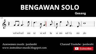 melodi bengawan solo - not balok nada pianika - doremi solmisasi