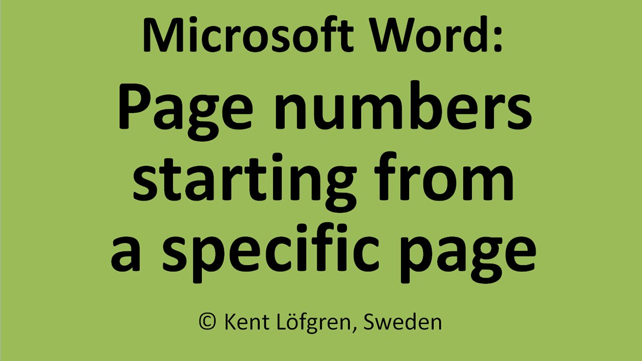 Word: Page Numbers Starting From A Specific Page