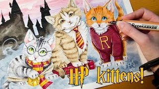 Random Drawing Request #6 MAGIC KITTENS - Harry Potter