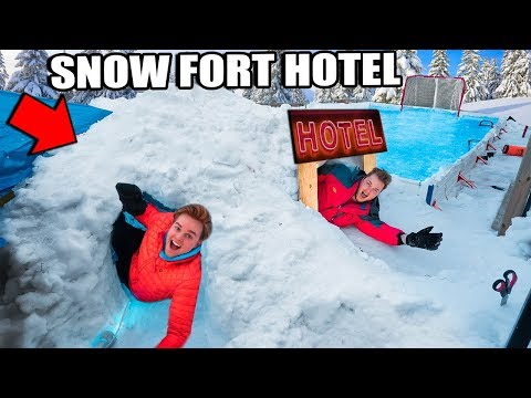 Billionaire SNOW Fort Hotel 24 Hour Challenge!  Video Games, Snowboarding, Hockey & More!