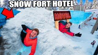 Billionaire SNOW Fort Hotel 24 Hour Challenge! ❄ Video Games, Snowboarding, Hockey & More!