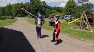 The Joker and Harly Quinn invade Georgies Party and Batman and Robin save the day. Part 1