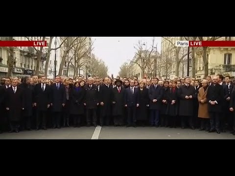 World Leaders join in a March down the Streets of Paris