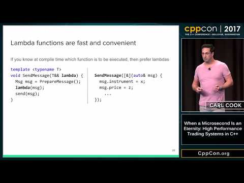 "CppCon 2017: Carl Cook ""When a Microsecond Is an Eternity: High Performance Trading Systems in C++"""