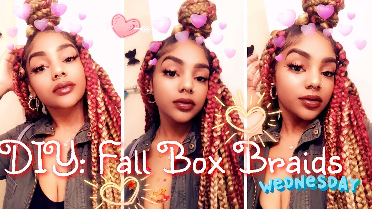 Diy Triangle Fall Box Braids 🍁🍂 Red Amp Blonde Youtube