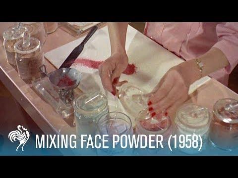 Mixing Face Powder: Retro Cosmetics 1958  British Pathé