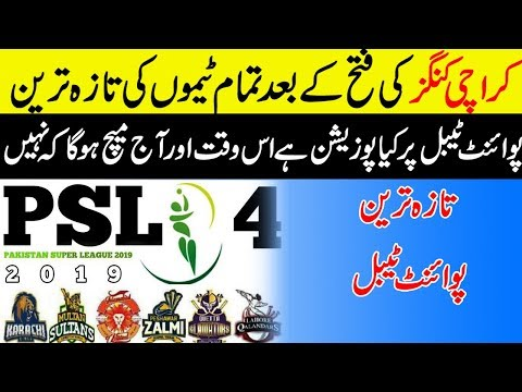 HBL PSL 2019 :  Upcoming Match Timing and Teams | PSL 2019 Points Table