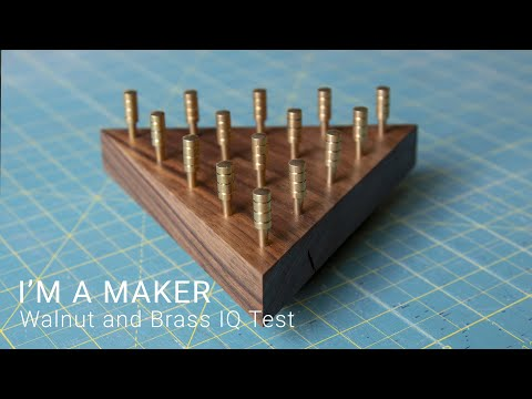 "Walnut and Brass ""Original IQ puzzle"" Made From Scrap 