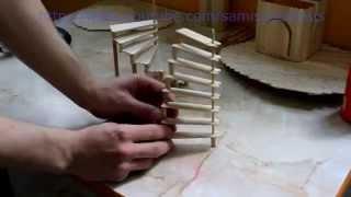 как сделать лестницу для кукольного домика видео из фанеры