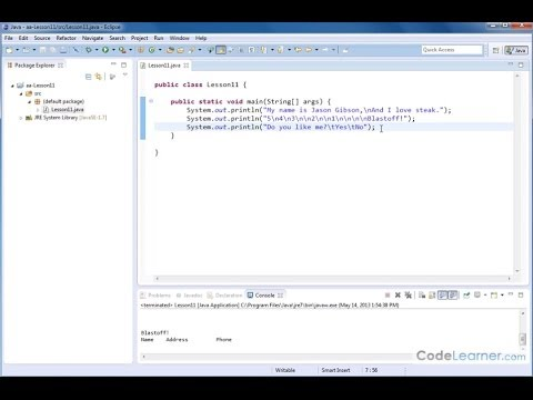 Learn Java Programming - Screen Output New Lines and Tabs