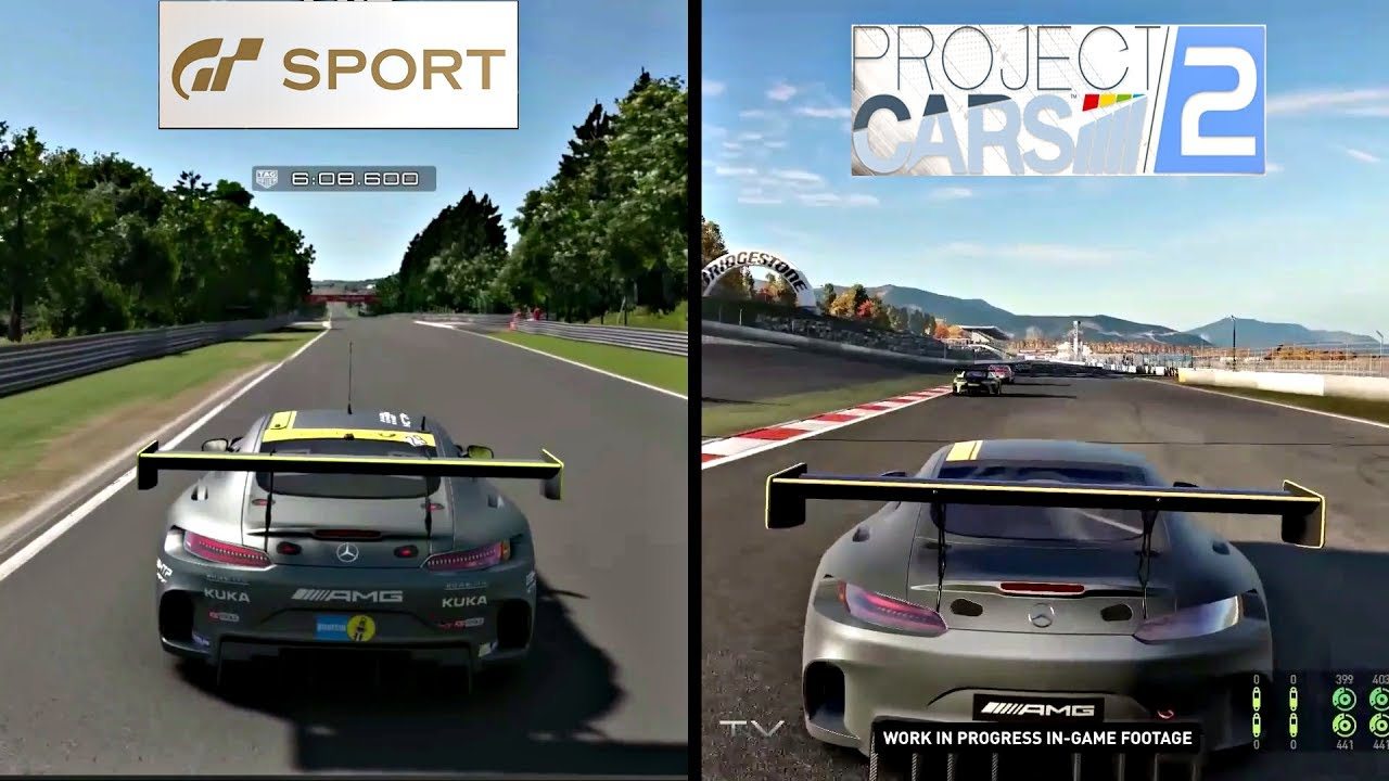 Gran Turismo Sport Vs Project Cars 2 Sounds Graphics Amg Gt3