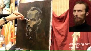 Портрет бородатого мужчины - Обучение живописи. Портрет, 36 серия